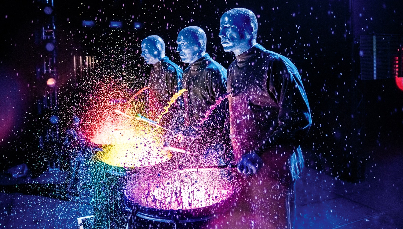 Blue Man Group paint drums
