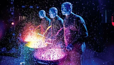 Blue Man Group colorful drums