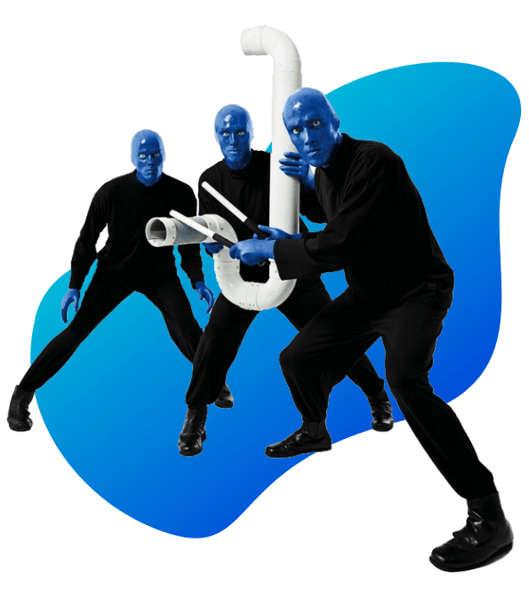 Blue Man Group holding the Drumbone